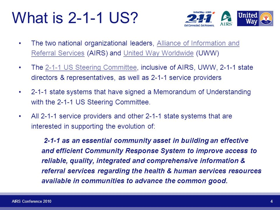 AIRS Conference 2010 4 What is 2-1-1 US.