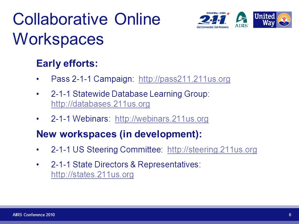 AIRS Conference Collaborative Online Workspaces Early efforts: Pass Campaign: Statewide Database Learning Group: Webinars:   New workspaces (in development): US Steering Committee: State Directors & Representatives: