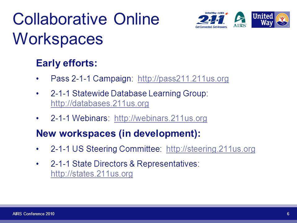AIRS Conference 2010 7 More Workspaces Newest Workspaces (experimental): 2-1-1 US Surveys: http://surveys.211us.orghttp://surveys.211us.org Disaster Response Team: http://drt.211us.orghttp://drt.211us.org 2-1-1 US Members: http://members.211us.orghttp://members.211us.org 2-1-1 US Public: http://public.211us.orghttp://public.211us.org 2-1-1 US Community: http://community.211us.orghttp://community.211us.org