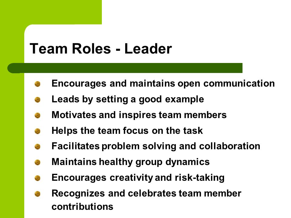 Team Roles - Leader Encourages and maintains open communication Leads by setting a good example Motivates and inspires team members Helps the team foc