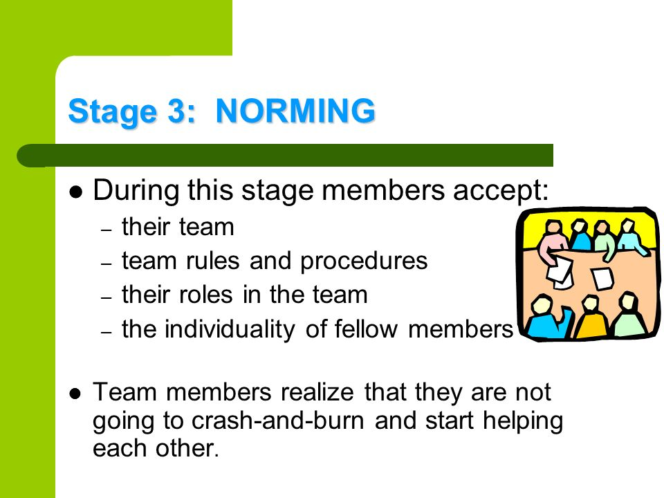 Stage 3: NORMING During this stage members accept: – their team – team rules and procedures – their roles in the team – the individuality of fellow me