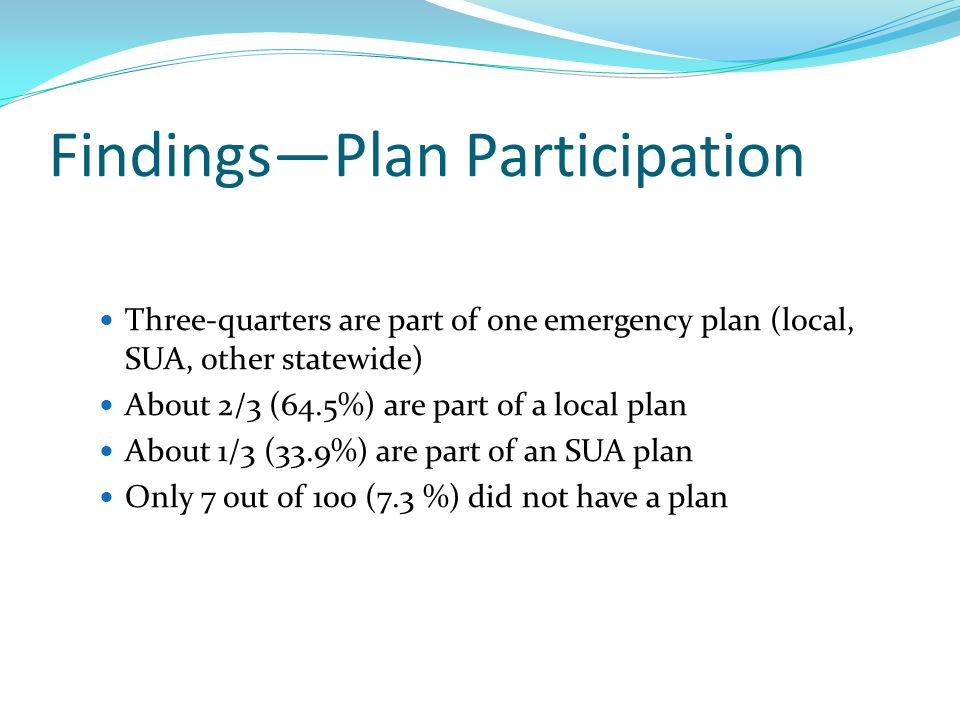 FindingsPlan Participation Three-quarters are part of one emergency plan (local, SUA, other statewide) About 2/3 (64.5%) are part of a local plan About 1/3 (33.9%) are part of an SUA plan Only 7 out of 100 (7.3 %) did not have a plan