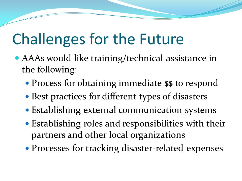 Challenges for the Future AAAs would like training/technical assistance in the following: Process for obtaining immediate $$ to respond Best practices for different types of disasters Establishing external communication systems Establishing roles and responsibilities with their partners and other local organizations Processes for tracking disaster-related expenses