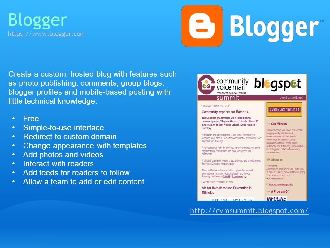Blogger https://www.blogger.com https://www.blogger.com Create a custom, hosted blog with features such as photo publishing, comments, group blogs, bl