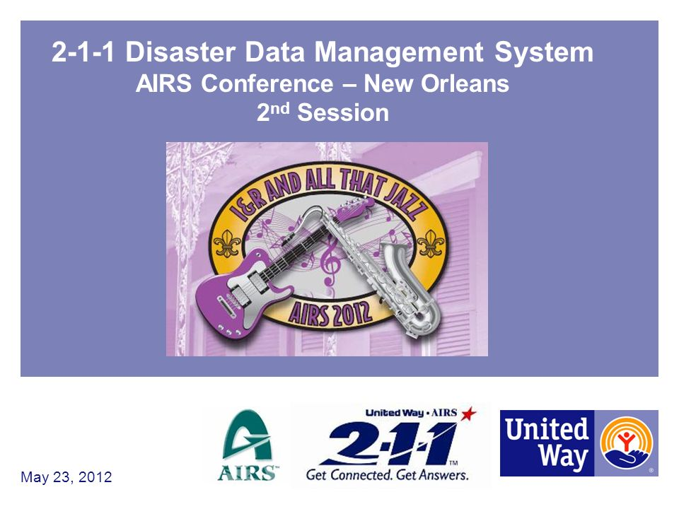 2-1-1 Disaster Data Management System AIRS Conference – New Orleans 2 nd Session May 23, 2012