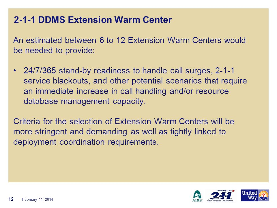 2-1-1 DDMS Extension Warm Center An estimated between 6 to 12 Extension Warm Centers would be needed to provide: 24/7/365 stand-by readiness to handle call surges, 2-1-1 service blackouts, and other potential scenarios that require an immediate increase in call handling and/or resource database management capacity.