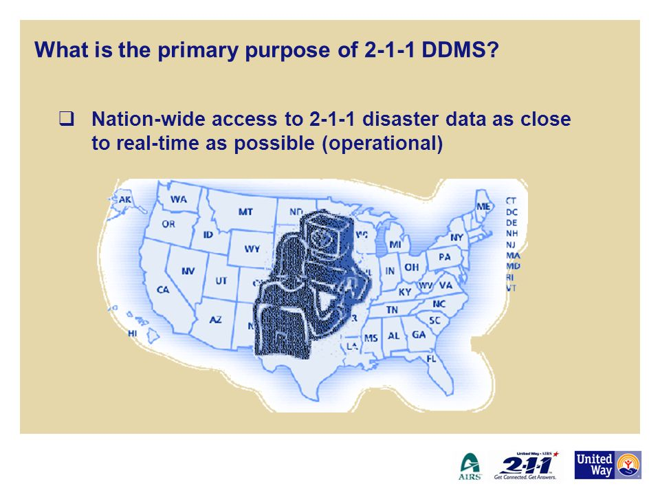 24/7/365 readiness of the 2-1-1 network for disaster response (operational) 2-1-1 Disaster Data Management System What is the primary purpose of 2-1-1 DDMS?