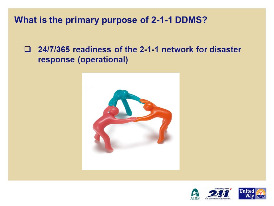 24/7/365 readiness of the 2-1-1 network for disaster response (operational) 2-1-1 Disaster Data Management System What is the primary purpose of 2-1-1 DDMS