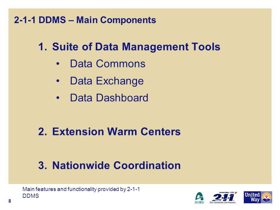 2-1-1 DDMS – Main Components 1.Suite of Data Management Tools Data Commons Data Exchange Data Dashboard 2.Extension Warm Centers 3.Nationwide Coordination Main features and functionality provided by 2-1-1 DDMS 8