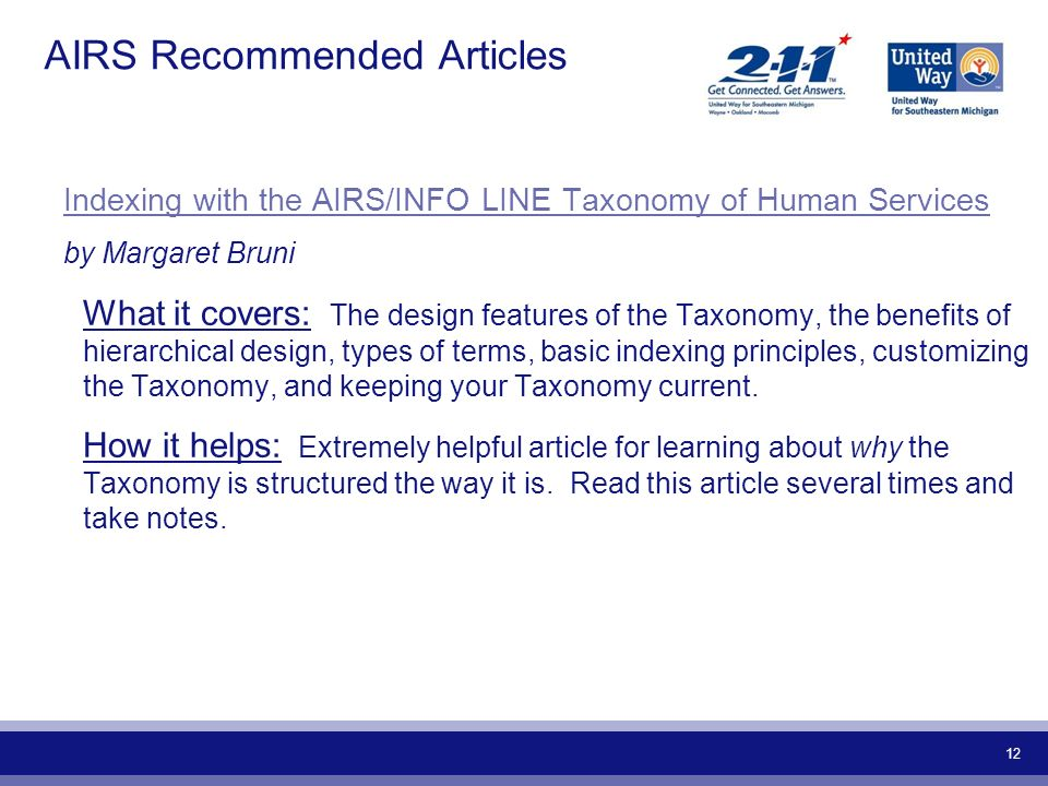 12 AIRS Recommended Articles Indexing with the AIRS/INFO LINE Taxonomy of Human Services by Margaret Bruni What it covers: The design features of the