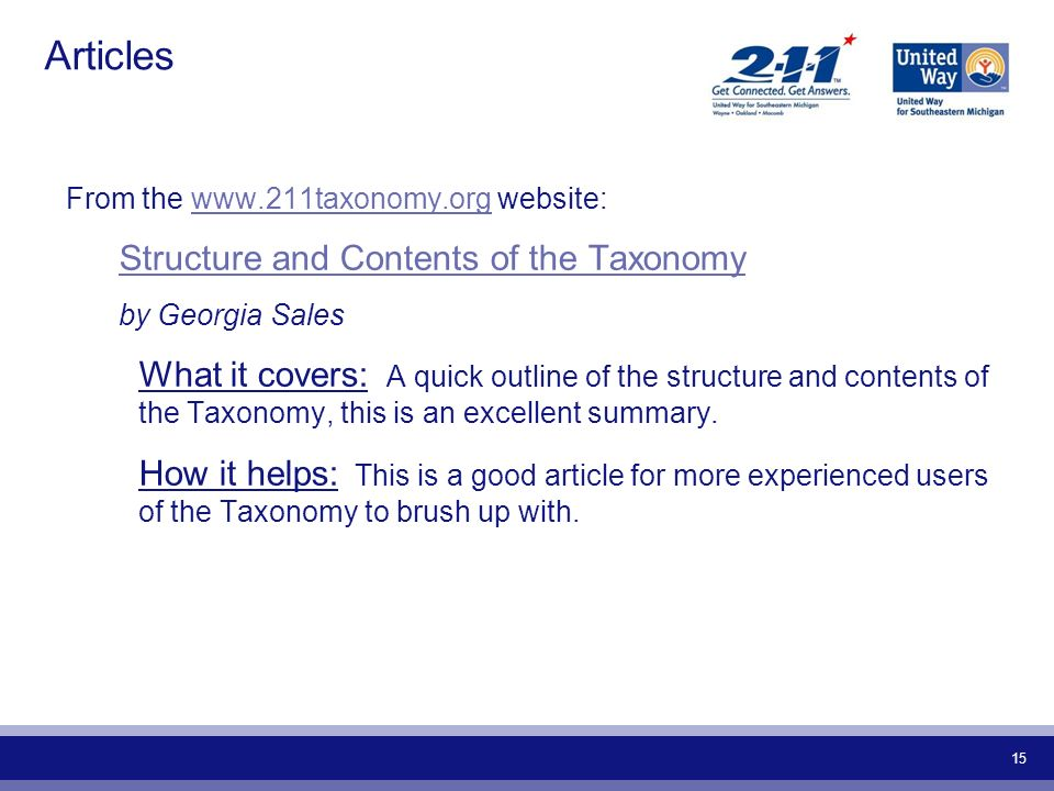 15 Articles From the www.211taxonomy.org website:www.211taxonomy.org Structure and Contents of the Taxonomy by Georgia Sales What it covers: A quick o