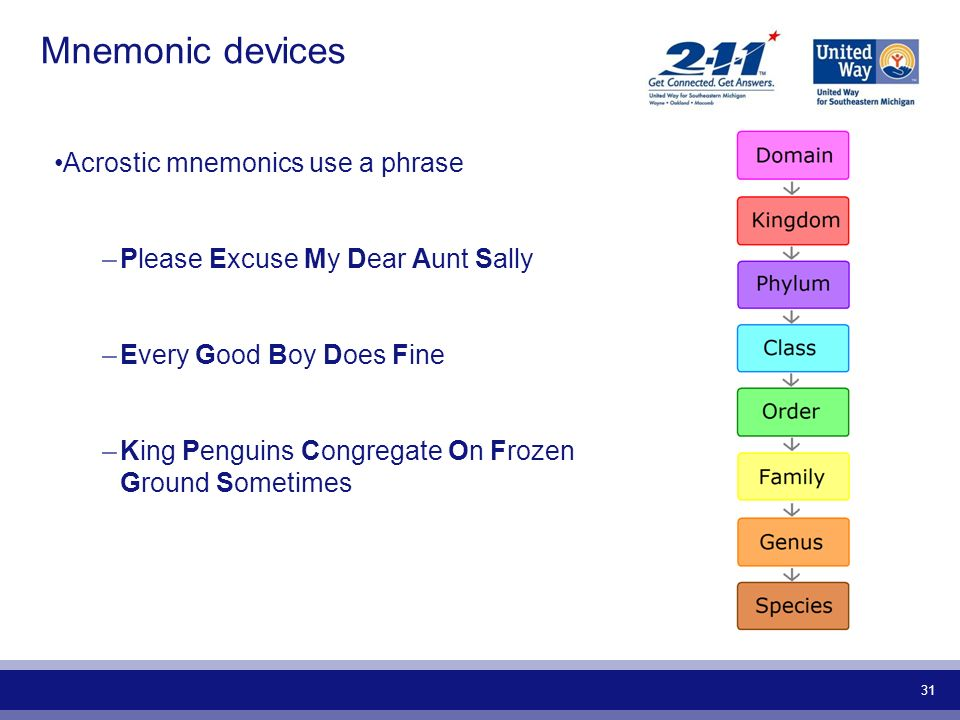 31 Mnemonic devices Acrostic mnemonics use a phrase –Please Excuse My Dear Aunt Sally –Every Good Boy Does Fine –King Penguins Congregate On Frozen Gr