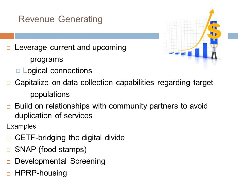 Revenue Generating Leverage current and upcoming programs Logical connections Capitalize on data collection capabilities regarding target populations Build on relationships with community partners to avoid duplication of services Examples CETF-bridging the digital divide SNAP (food stamps) Developmental Screening HPRP-housing