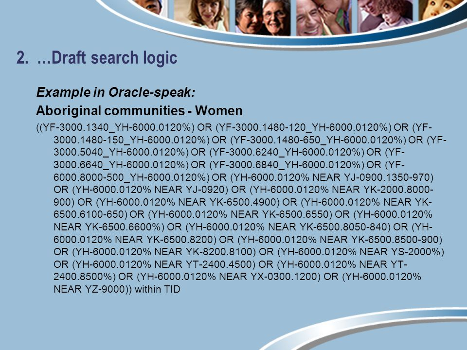2. …Draft search logic Example in Oracle-speak: Aboriginal communities - Women ((YF-3000.1340_YH-6000.0120%) OR (YF-3000.1480-120_YH-6000.0120%) OR (Y