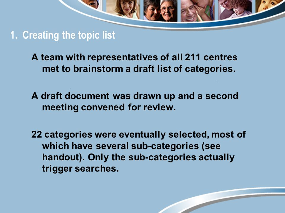 1. Creating the topic list A team with representatives of all 211 centres met to brainstorm a draft list of categories. A draft document was drawn up
