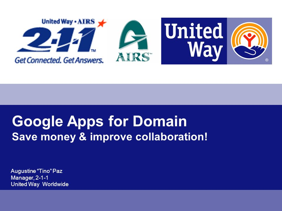 Google Apps for Domain Save money & improve collaboration.