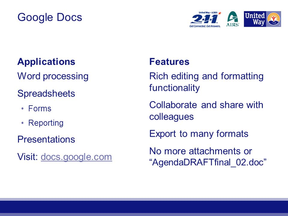 ApplicationsFeatures Word processing Spreadsheets Forms Reporting Presentations Visit: docs.google.comdocs.google.com Rich editing and formatting functionality Collaborate and share with colleagues Export to many formats No more attachments or AgendaDRAFTfinal_02.doc Google Docs