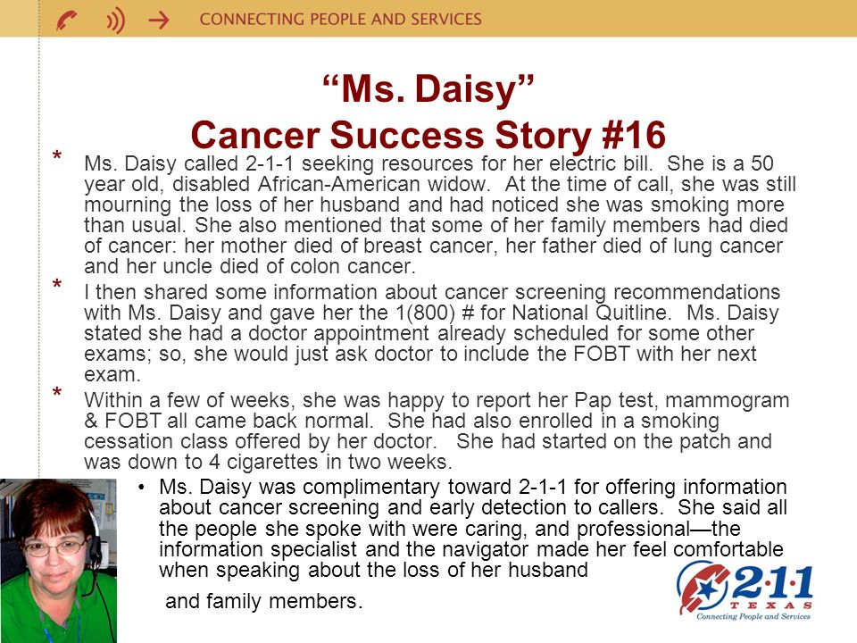 Ms. Daisy Cancer Success Story #16 * Ms.
