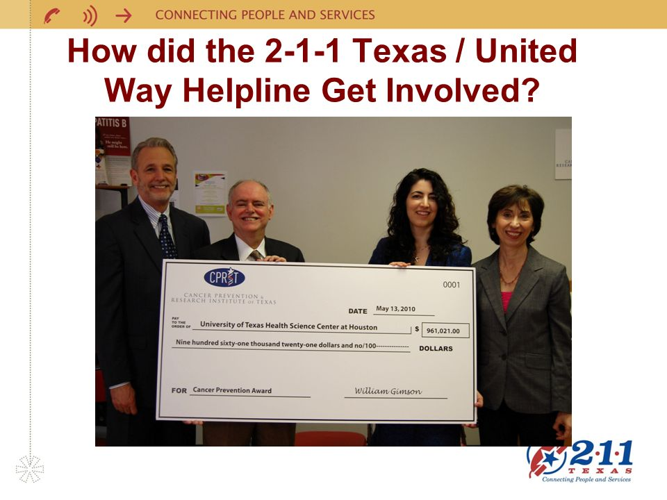 How did the 2-1-1 Texas / United Way Helpline Get Involved
