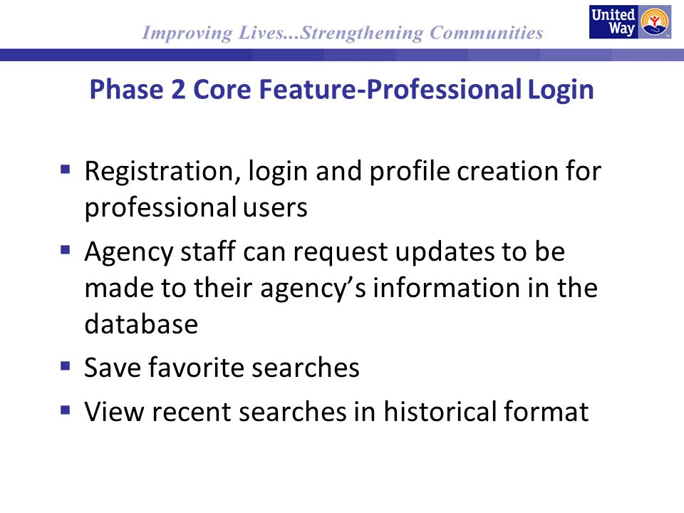Phase 2 Core Feature-Professional Login Registration, login and profile creation for professional users Agency staff can request updates to be made to their agencys information in the database Save favorite searches View recent searches in historical format