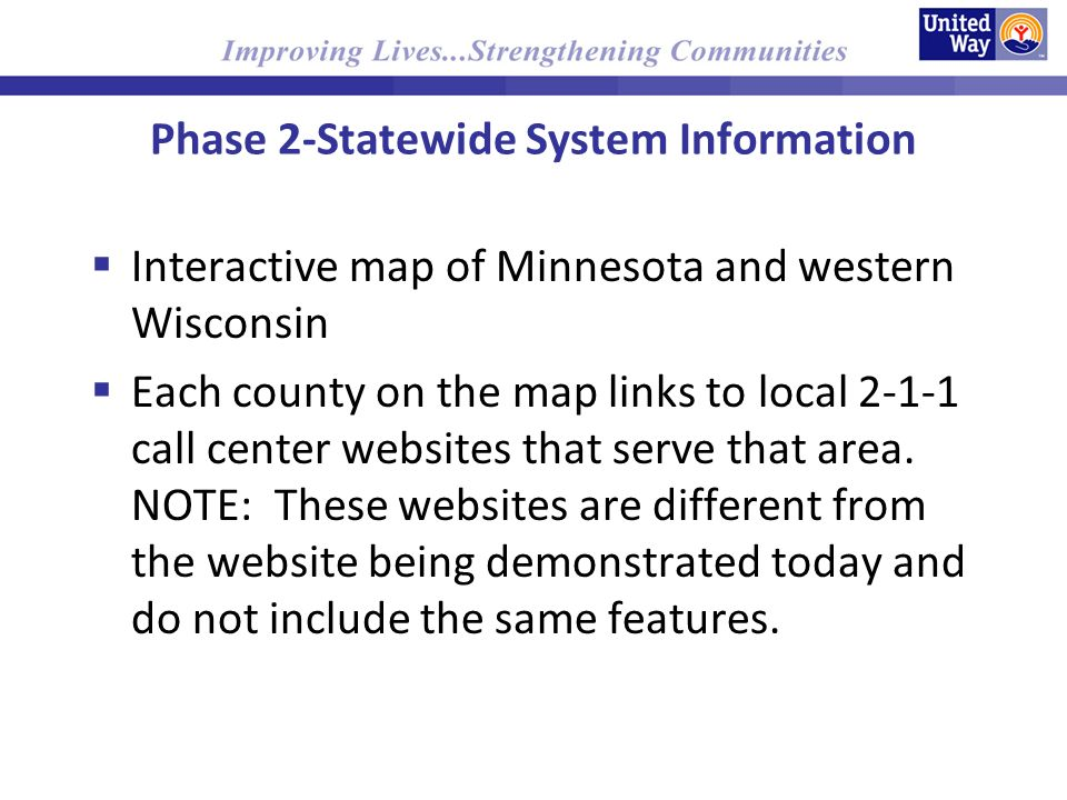 Phase 2-Statewide System Information Interactive map of Minnesota and western Wisconsin Each county on the map links to local call center websites that serve that area.