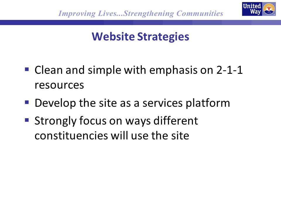 Website Strategies Clean and simple with emphasis on resources Develop the site as a services platform Strongly focus on ways different constituencies will use the site