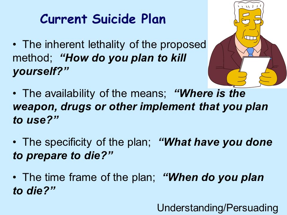 Current Suicide Plan The inherent lethality of the proposed method; How do you plan to kill yourself? The availability of the means; Where is the weap