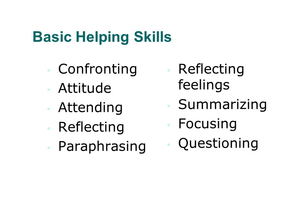 Basic Helping Skills Confronting Attitude Attending Reflecting Paraphrasing Reflecting feelings Summarizing Focusing Questioning