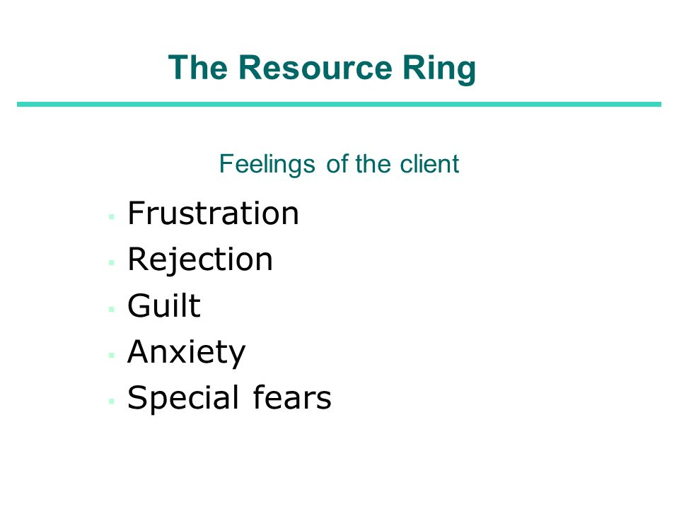 The Resource Ring Feelings of the client Frustration Rejection Guilt Anxiety Special fears