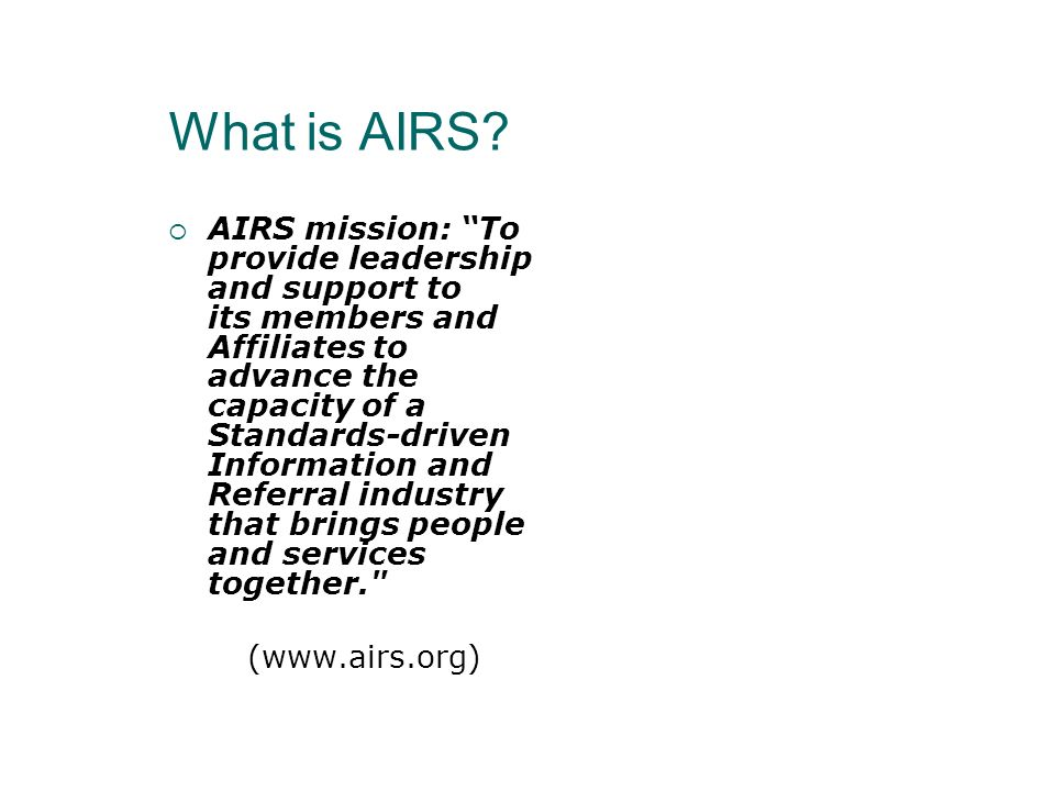 CRIS-A Study Guide Tenents of I&R Older Americans Act I&R AIRS Mission Philosophy of I&A I&R Bill of Rights Main Functions for I&R Services Services for older adults and their caregivers Services for the community