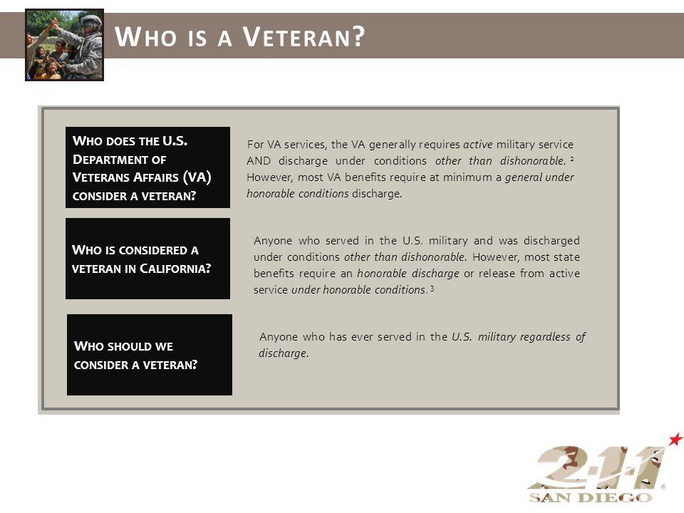 W HO DOES THE U.S. D EPARTMENT OF V ETERANS A FFAIRS (VA) CONSIDER A VETERAN .