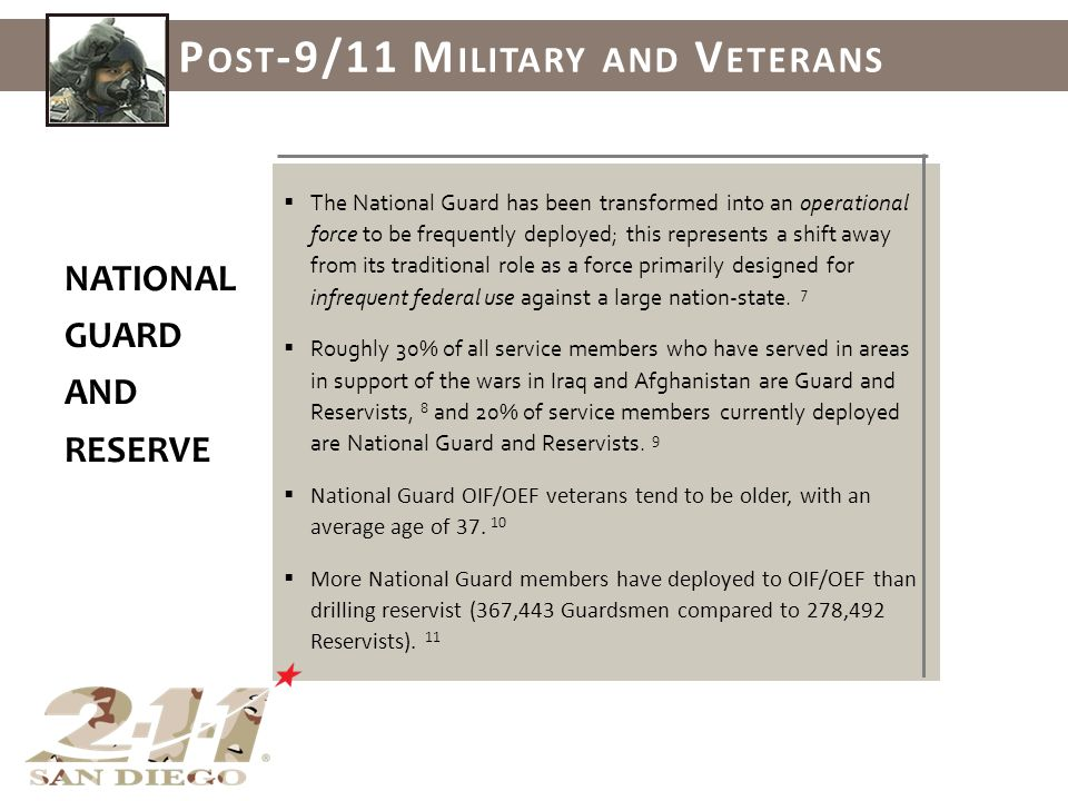 The National Guard has been transformed into an operational force to be frequently deployed; this represents a shift away from its traditional role as a force primarily designed for infrequent federal use against a large nation-state.