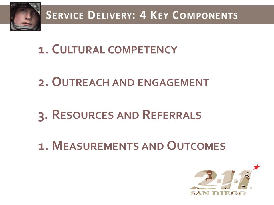 1.C ULTURAL COMPETENCY 2.O UTREACH AND ENGAGEMENT 3.R ESOURCES AND R EFERRALS 1.M EASUREMENTS AND O UTCOMES S ERVICE D ELIVERY : 4 K EY C OMPONENTS