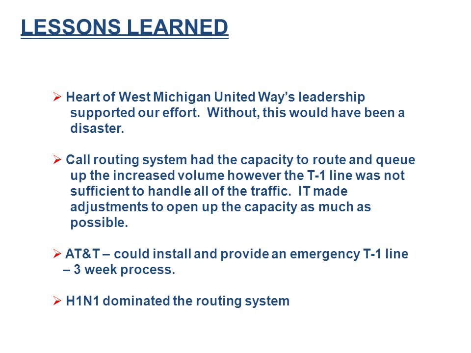 LESSONS LEARNED Heart of West Michigan United Ways leadership supported our effort.