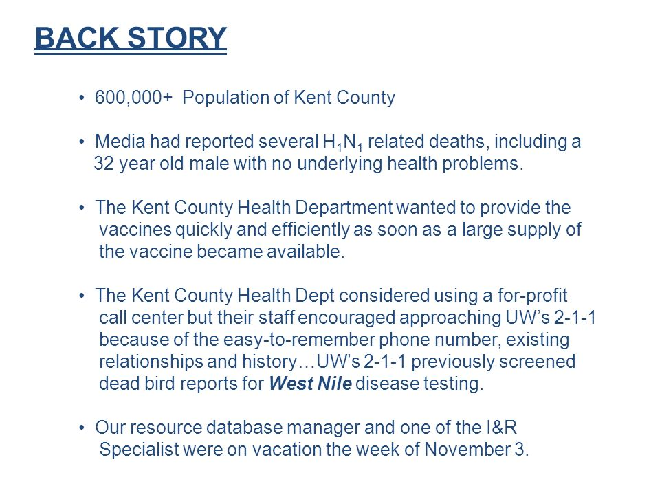 BACK STORY 600,000+ Population of Kent County Media had reported several H 1 N 1 related deaths, including a 32 year old male with no underlying health problems.