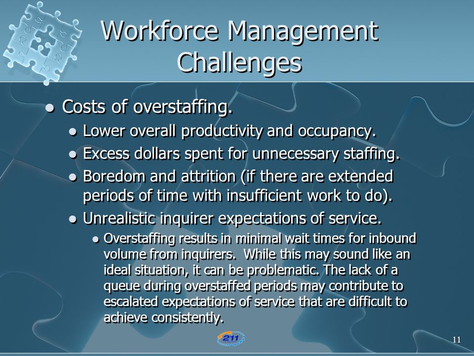 11 Workforce Management Challenges Costs of overstaffing. Lower overall productivity and occupancy. Excess dollars spent for unnecessary staffing. Bor