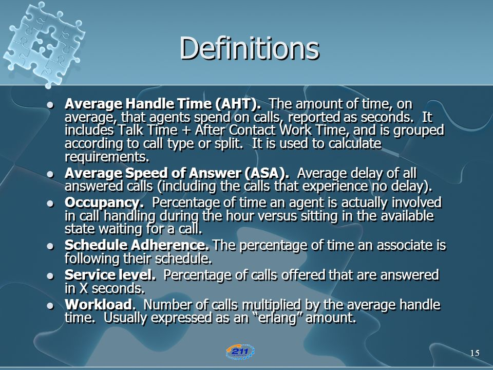 15 Definitions Average Handle Time (AHT). The amount of time, on average, that agents spend on calls, reported as seconds. It includes Talk Time + Aft
