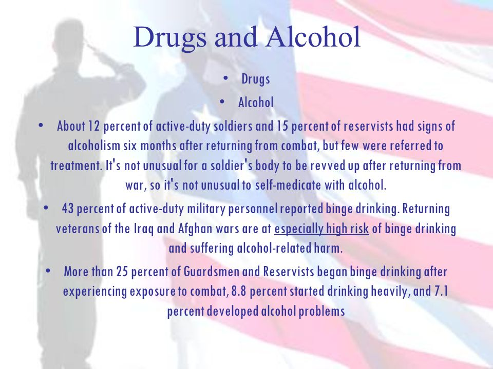 Drugs and Alcohol Drugs Alcohol About 12 percent of active-duty soldiers and 15 percent of reservists had signs of alcoholism six months after returni
