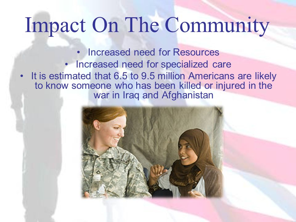 Impact On The Community Increased need for Resources Increased need for specialized care It is estimated that 6.5 to 9.5 million Americans are likely