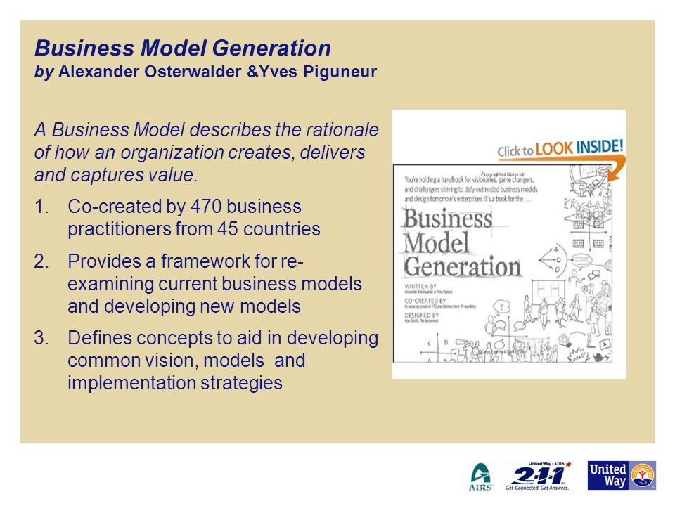 Business Model Generation by Alexander Osterwalder &Yves Piguneur A Business Model describes the rationale of how an organization creates, delivers an
