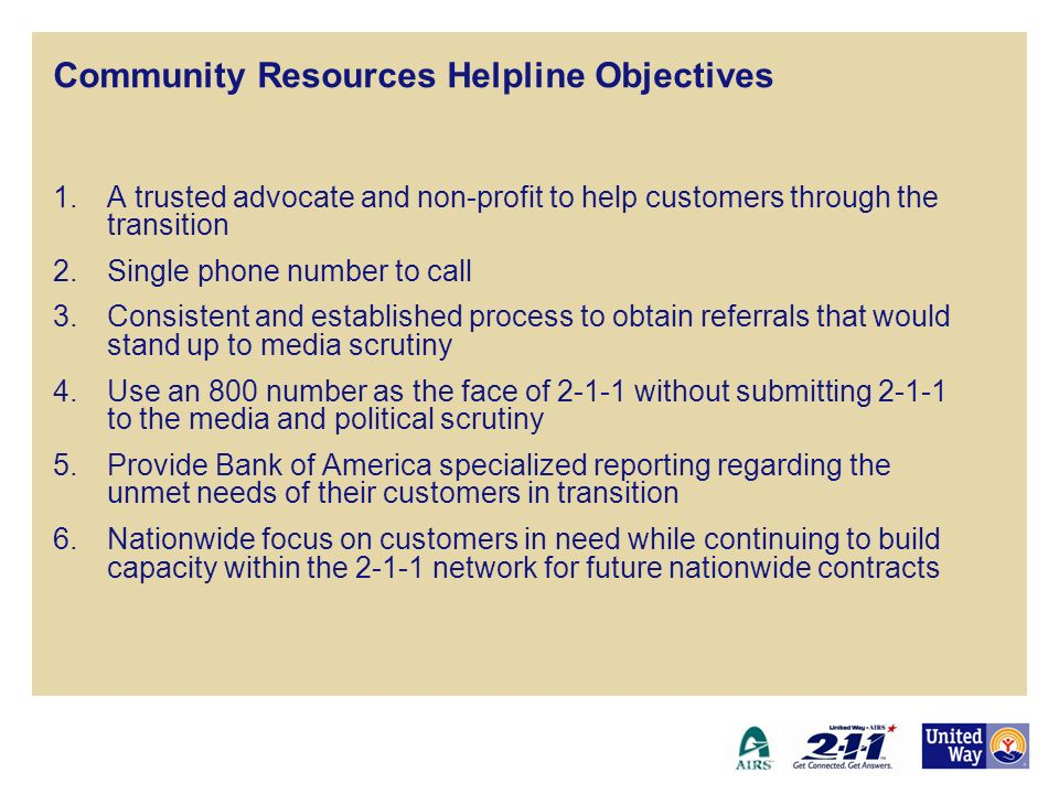 Community Resources Helpline Objectives 1.A trusted advocate and non-profit to help customers through the transition 2.Single phone number to call 3.C