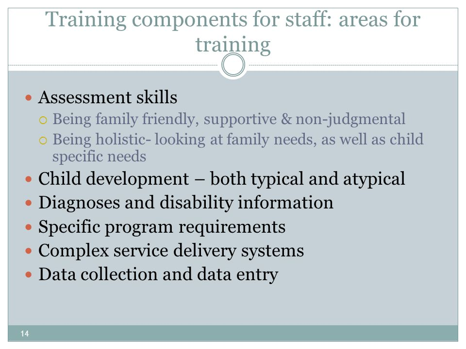 14 Training components for staff: areas for training Assessment skills Being family friendly, supportive & non-judgmental Being holistic- looking at f