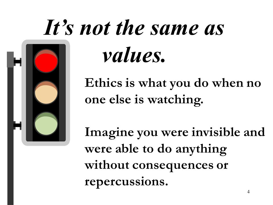 4 Its not the same as values. Ethics is what you do when no one else is watching. Imagine you were invisible and were able to do anything without cons