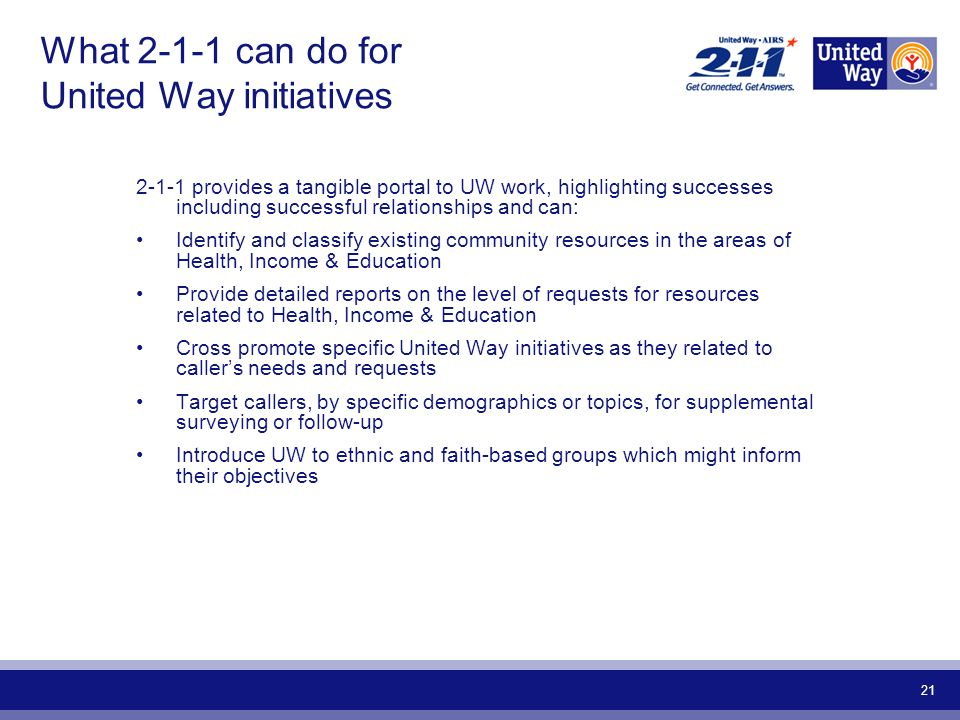 21 What can do for United Way initiatives provides a tangible portal to UW work, highlighting successes including successful relationships and can: Identify and classify existing community resources in the areas of Health, Income & Education Provide detailed reports on the level of requests for resources related to Health, Income & Education Cross promote specific United Way initiatives as they related to callers needs and requests Target callers, by specific demographics or topics, for supplemental surveying or follow-up Introduce UW to ethnic and faith-based groups which might inform their objectives