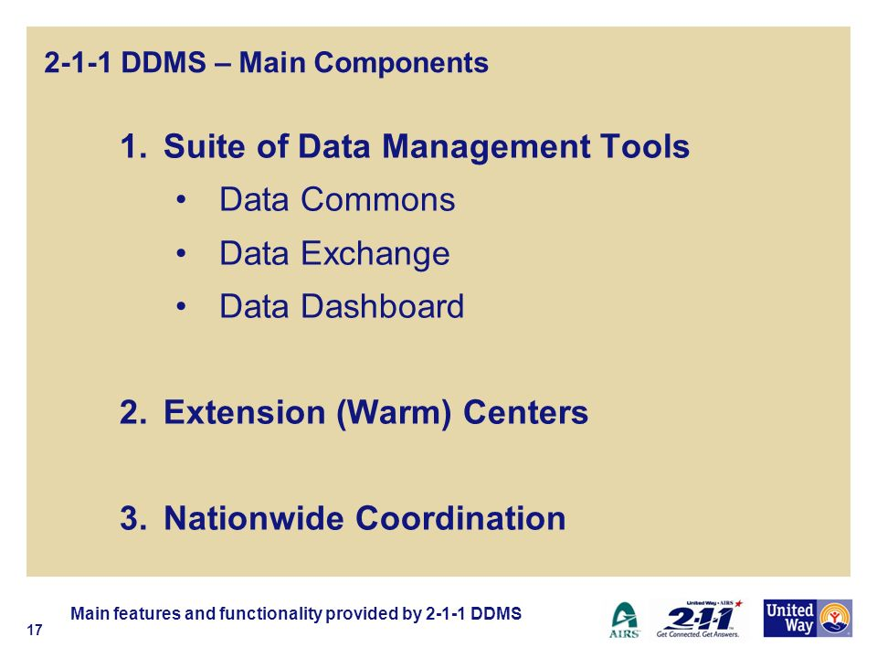 2-1-1 DDMS – Main Components 1.Suite of Data Management Tools Data Commons Data Exchange Data Dashboard 2.Extension (Warm) Centers 3.Nationwide Coordination Main features and functionality provided by DDMS 17