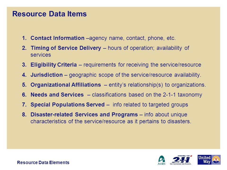 Resource Data Items 1.Contact Information –agency name, contact, phone, etc.