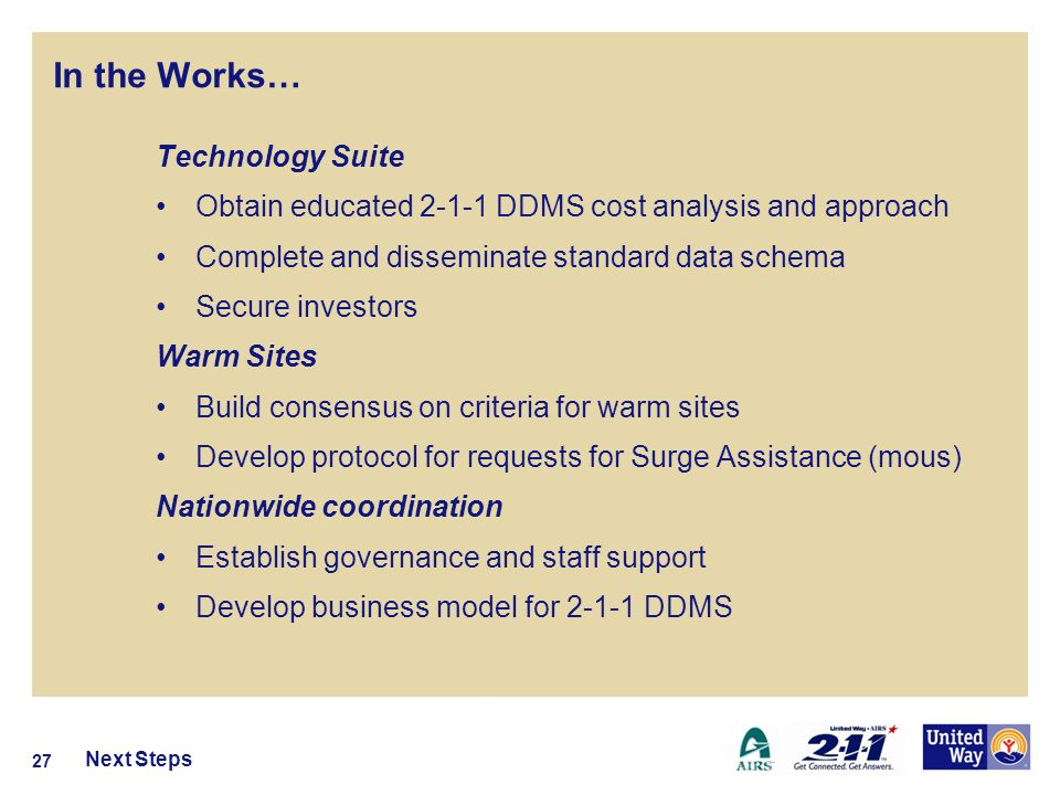In the Works… Next Steps 27 Technology Suite Obtain educated 2-1-1 DDMS cost analysis and approach Complete and disseminate standard data schema Secure investors Warm Sites Build consensus on criteria for warm sites Develop protocol for requests for Surge Assistance (mous) Nationwide coordination Establish governance and staff support Develop business model for 2-1-1 DDMS