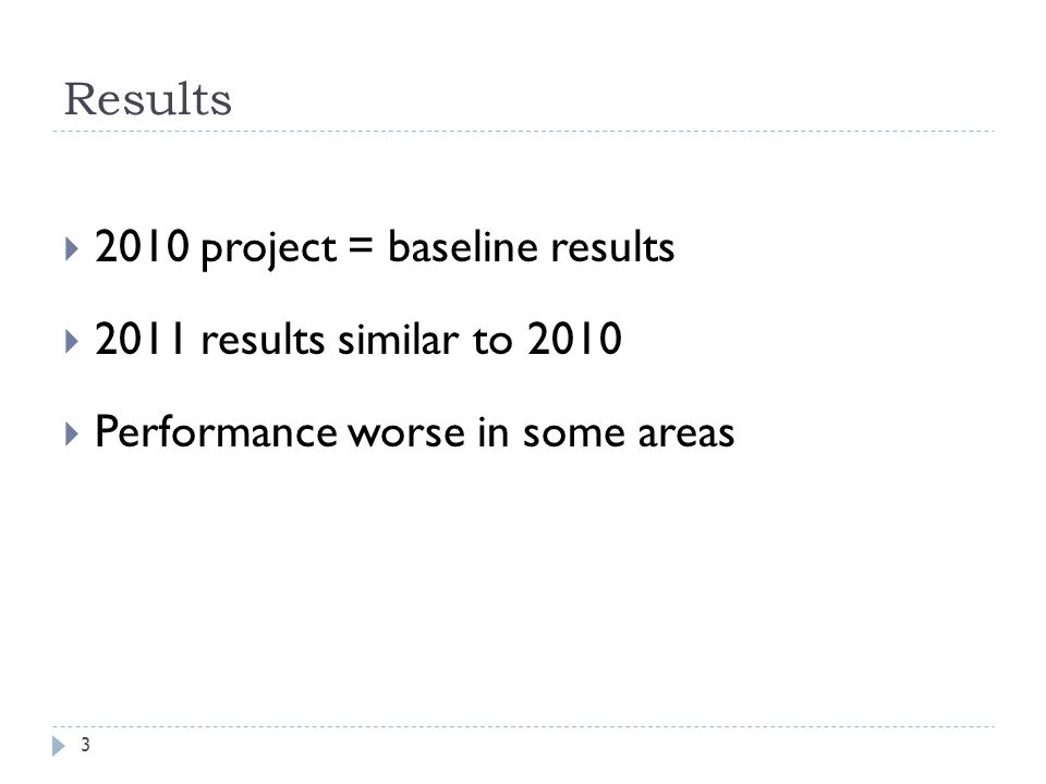 Results 2010 project = baseline results 2011 results similar to 2010 Performance worse in some areas 3