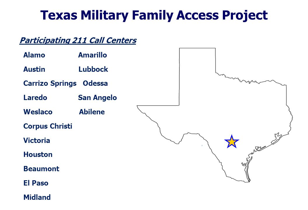 Texas Military Family Access Project Participating 211 Call Centers Alamo Amarillo Austin Lubbock Carrizo Springs Odessa Laredo San Angelo Weslaco Abilene Corpus Christi Victoria Houston Beaumont El Paso Midland