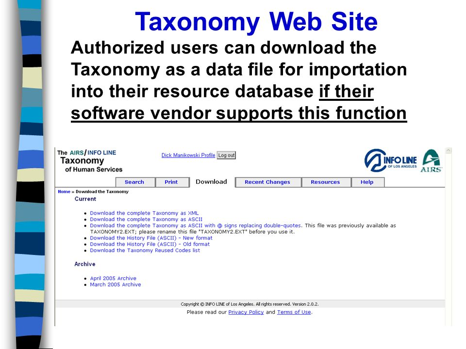 Taxonomy Web Site Authorized users can download the Taxonomy as a data file for importation into their resource database if their software vendor supports this function